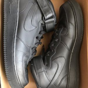 Nike Shoes - NIKE: Air Force One- Black on Black Mids size 9.5